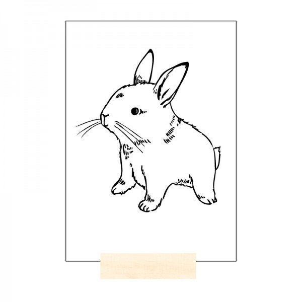 RABBIT /  HASE / POSTKARTE / BLACK