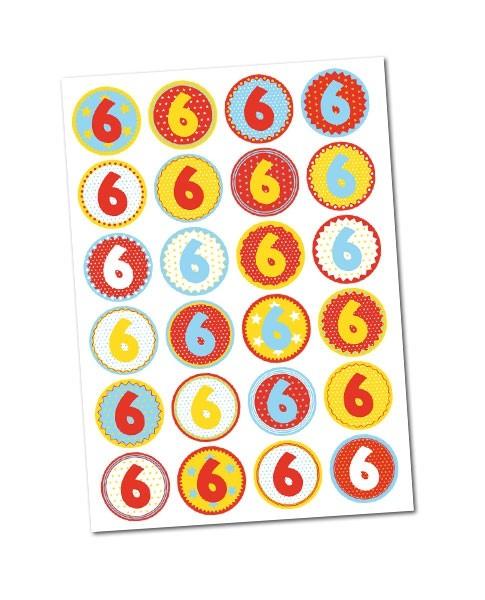 Stickerbogen/ Aufkleber -Zahl 6- mit 24 Zahlensticker