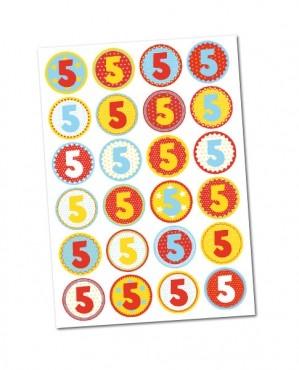 Stickerbogen/ Aufkleber  -Zahl 5-  mit 24 Zahlensticker
