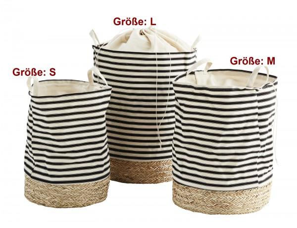 Madam Stoltz Wäschekorb schwarz-weiß Streifen 3 Größen