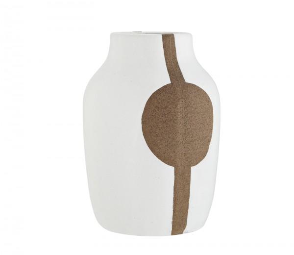 Madam Stoltz Blumvase Vase weiß mit Muster Ethno