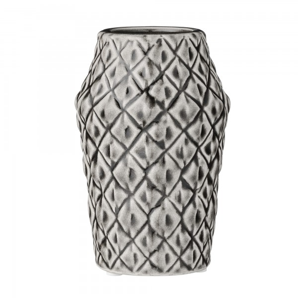 Bloomingville NEU Porzellan-Vase Square Structure Cool Grey