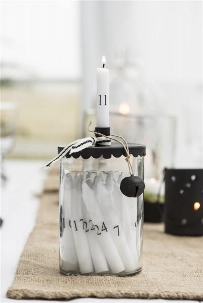Glashalter für Stabkerzen mit Metalldeckel