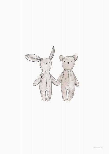 Print Postkarte Teddybär und Hase