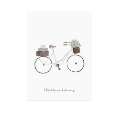 Postkarte Weihnachten Fahrrad mit Tanne & Geschenk