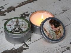 Chic Antique Vintage Metalldose mit Kerze