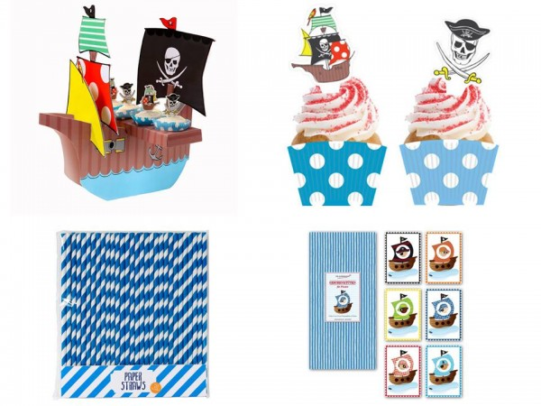 Piraten -  Geburtstag Kindergeburtstag Piratenschiff Cupcake Geschenktüten