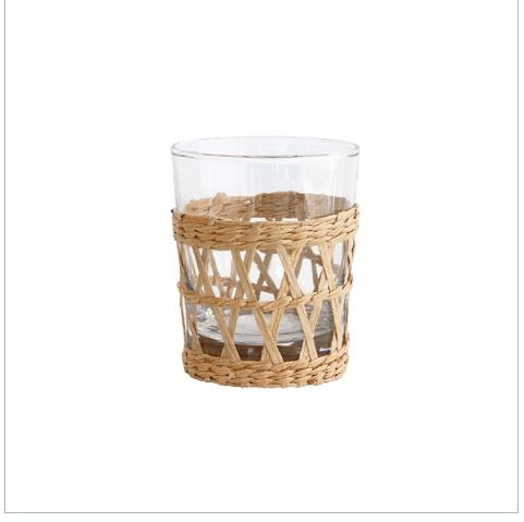 Trinkglas mit Korbgeflecht von Hk living