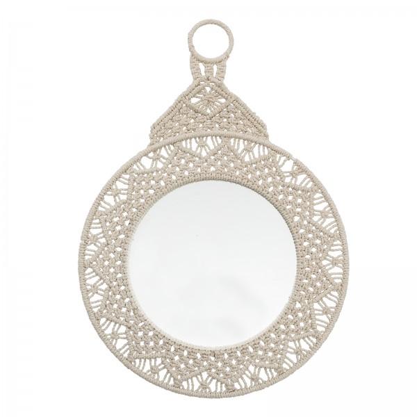 Bloomingville Spiegel gehäkelter Rahmen  Ø46 cm