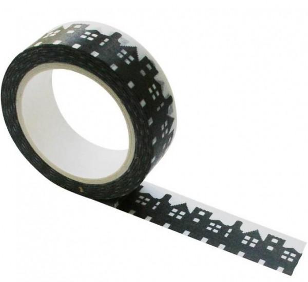 Masking tape Häuser schwarz weiß