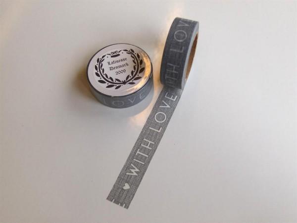 Washitape Maskingtape Tape WITH LOVE grau