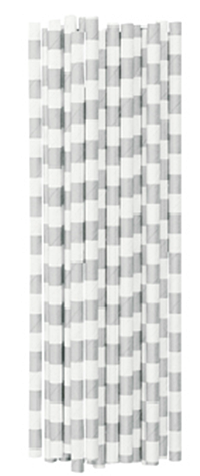 Miss Ètoile Papier - Strohhalme NEU silber grau