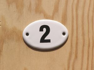 Emaille Email Schild Türschild Rezeption Zahl 2