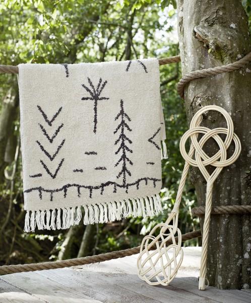 Flauschige Badematte Baumwolle, naturweiß/dunkelgrau