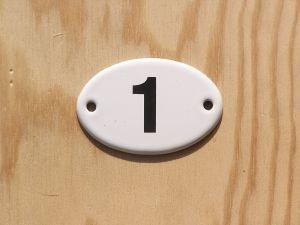 Plakete Emaille Email Schild Türschild Zahl 1
