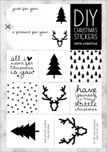 CHRISTMAS STICKERS DIY Black & White