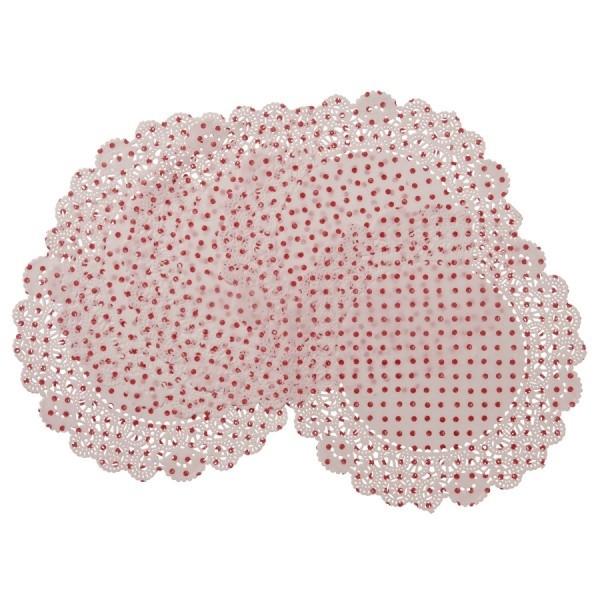 Tortenspitze Doilies weiss mit roten Punkte 20 St