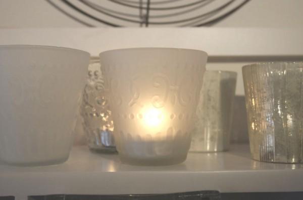 Kerzenglas Teelicht  Windlicht Frost white