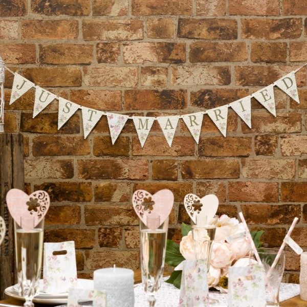 Just married - Bunting Wimpelkette Deko MINI