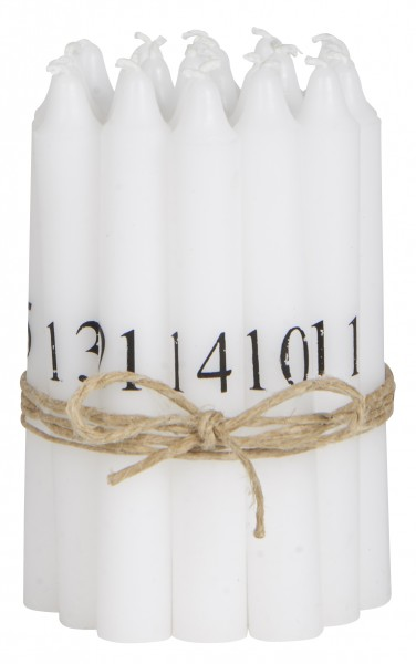 Tannenbaumkerzen 1-24 weiss m/schwarzen Nummern