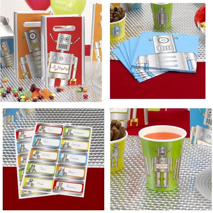 roboter party kindergeburtstag mitgebsel t ten namensaufkleber servietten lille sted ihr. Black Bedroom Furniture Sets. Home Design Ideas