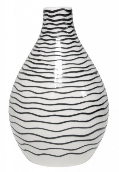 HKliving Vase Keramik weiß mit schwarzen Streifen