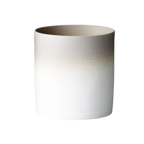 Bloomingville Porzellan Teelicht mit Rillen grau-weiß