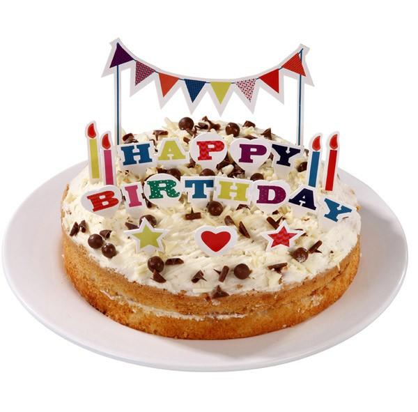 Happy Birthday Kuchen Girlande mit Aufkleber