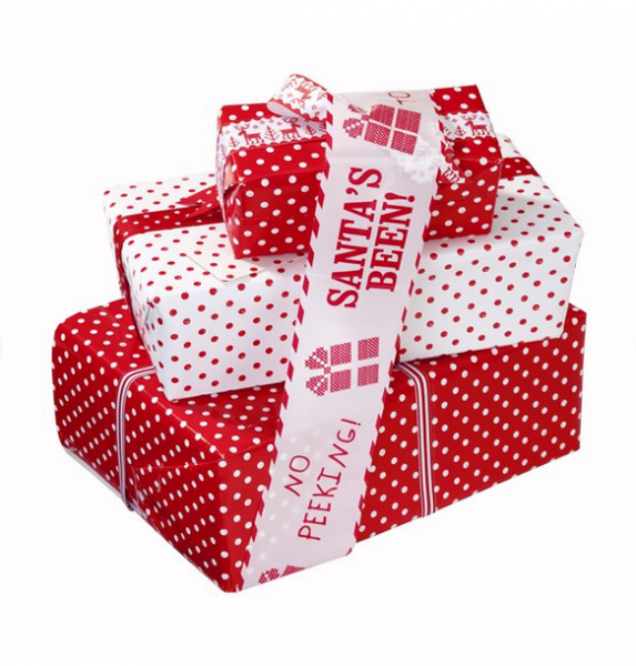 Klebeband Tape Waiting for Santa rot - weiß
