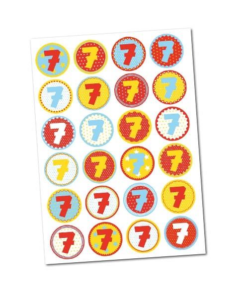 Stickerbogen/ Aufkleber -Zahl 7- mit 24 Zahlensticker