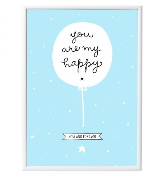 A little lovely Company Poster hellblau YOU ARE MY HAPPY