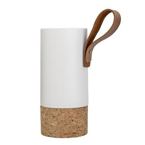 Vase, Matte White Nature Cork mit LEDERBAND