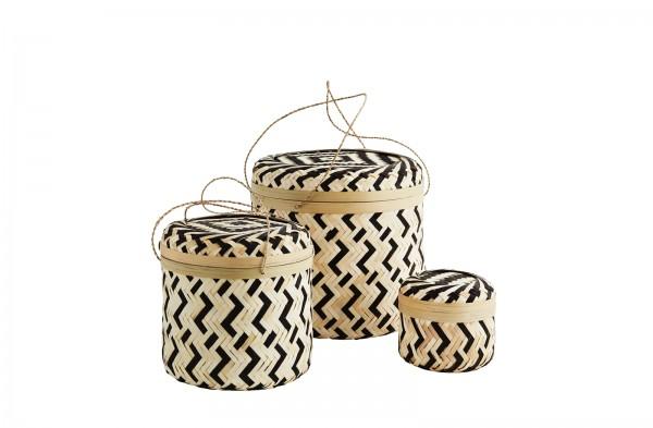 Madam Stoltz Runde Bambus Box mit Henkel  3 Größen