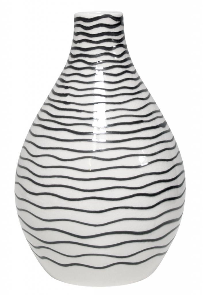 hkliving vase keramik wei mit schwarzen streifen lille sted ihr online shop f r. Black Bedroom Furniture Sets. Home Design Ideas