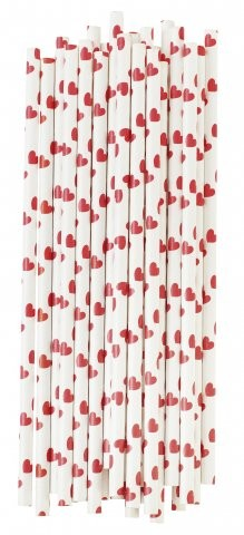 Paper Straws Strohhalme rot mit Herzen
