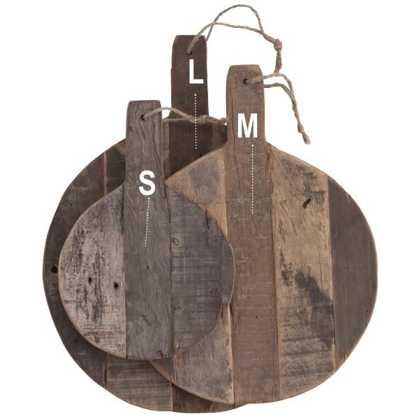 HANDMADE Holz Schneidebrett  rund recyceltes Holz 3 Größen