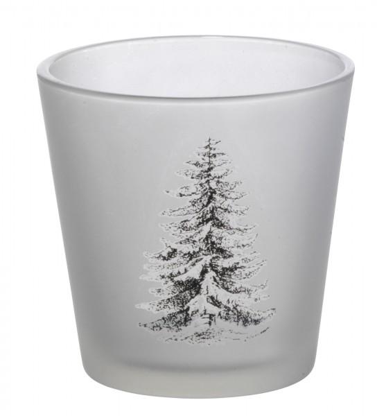 Windlicht Tannenbaum frozen Glas von Madam Stoltz