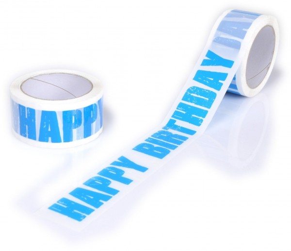 "Paketband Klebeband STAR "" Happy Birthday"" blau 50 mm x 66 NEU"