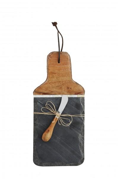 Madam Stotlz Holz-Schiefer-Schneidebrett mit Messer